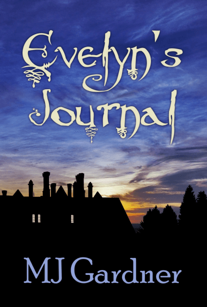 Evelyn's Journal cover showing a large house silhouettted by the sun set