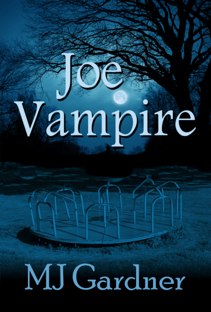 Joe Vampire cover showing a merry-go-round in blue darkness and the moon between trees