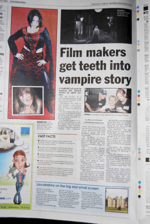Lincolnshire Echo, Oct 20 2008 with headline: Filmakers get teeth into vampire story